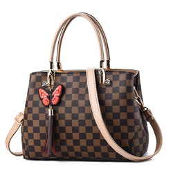 Shoespie Plaid PU Tote Bags