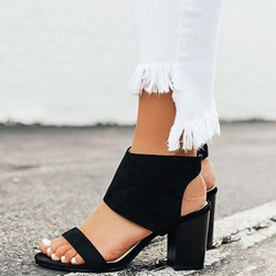 Shoespie Sexy Open Toe Chunky Heel Zipper Sandals