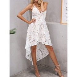Lace Sleeveless Mid-Calf High Waist Women's Asymmetric Dress