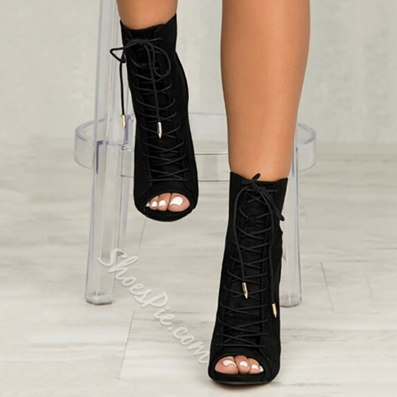 Shoespie Lace-Up Peep Toe Stiletto Heel Boots