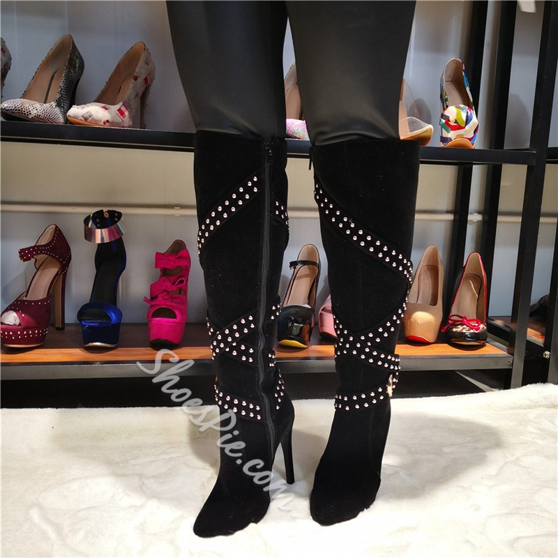 Shoespie Sexy Pointed Toe Side Zipper Rivet Boots