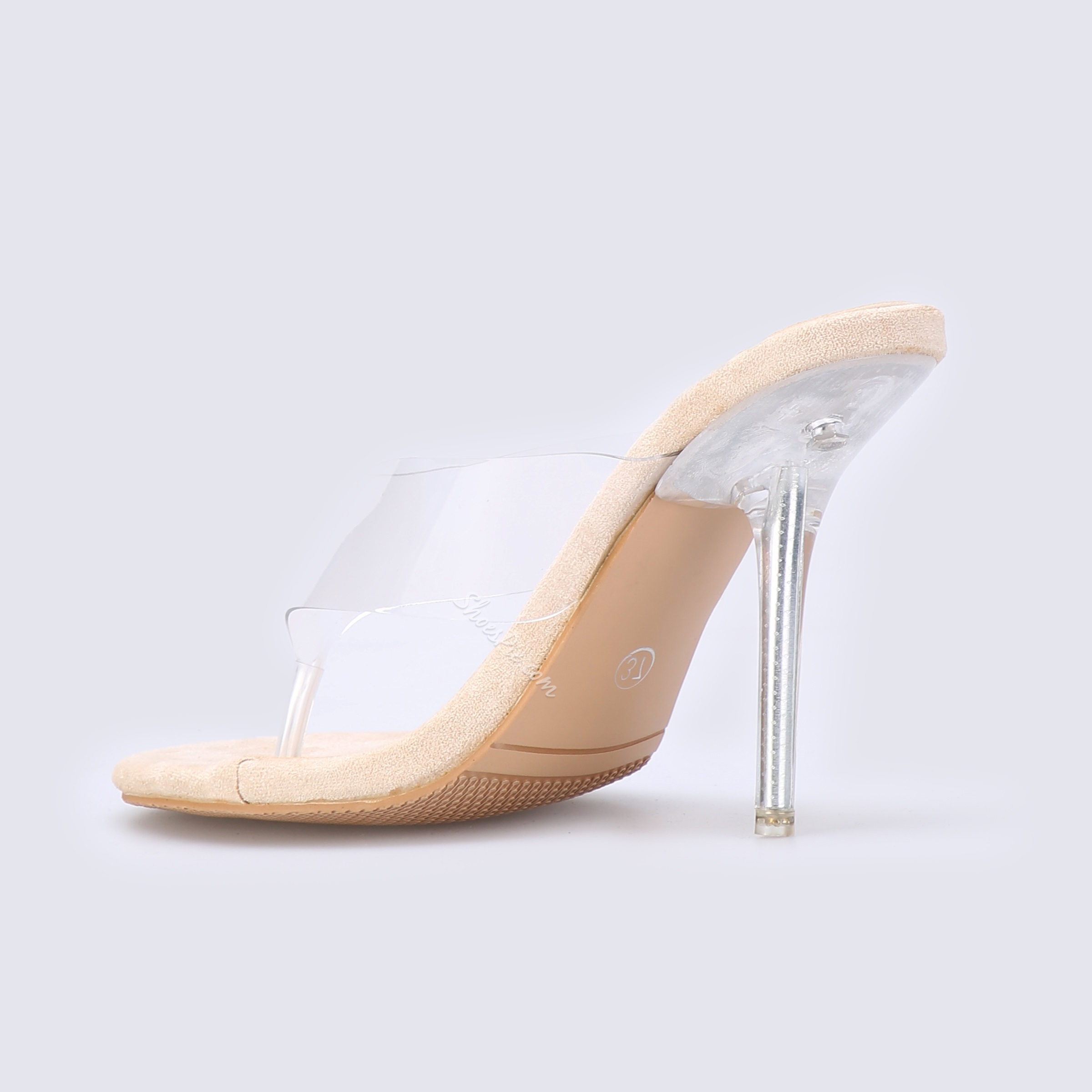 Shoespie Stiletto Heel Clear Clip Toe Mules