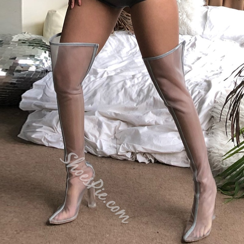 Shoespie Mesh Thigh High Clear Chunk Heel Neon Boots
