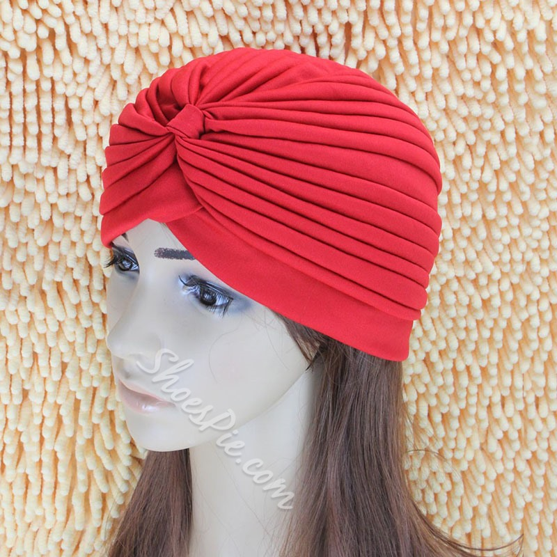 Pleated Polyester Ethnic Plain Hats