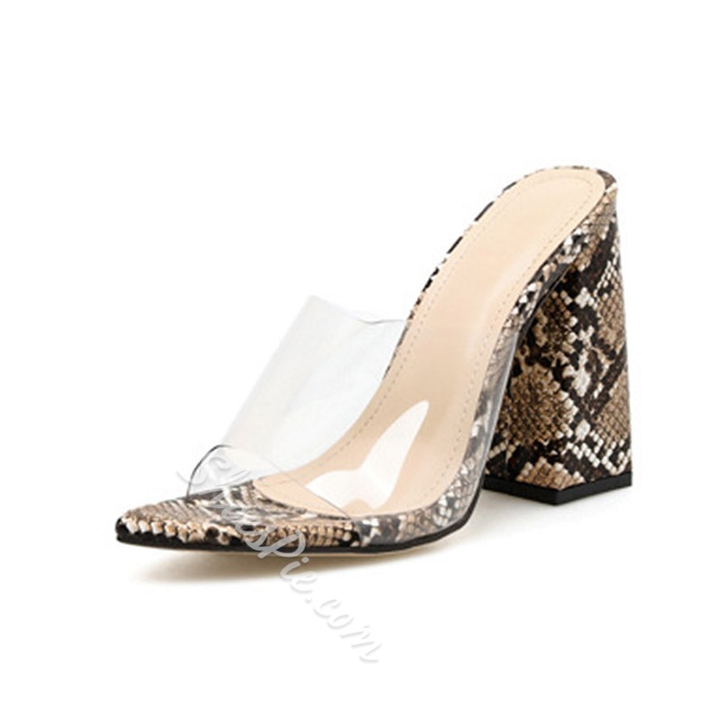 Shoespie Snakeskin Clear Chunky Heel Summer Slippers
