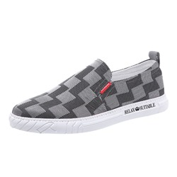 Shoespie Men's Slip-On Plaid Low-Cut Upper Microfiber Thin Shoes