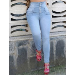 Plain Button Pencil Pants Skinny Women's Jeans