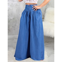 Pleated Plain Wide Legs Loose Women's Jeans