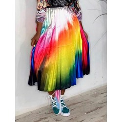 Mid-Calf Pleated Pleated High Waist Women's Skirt