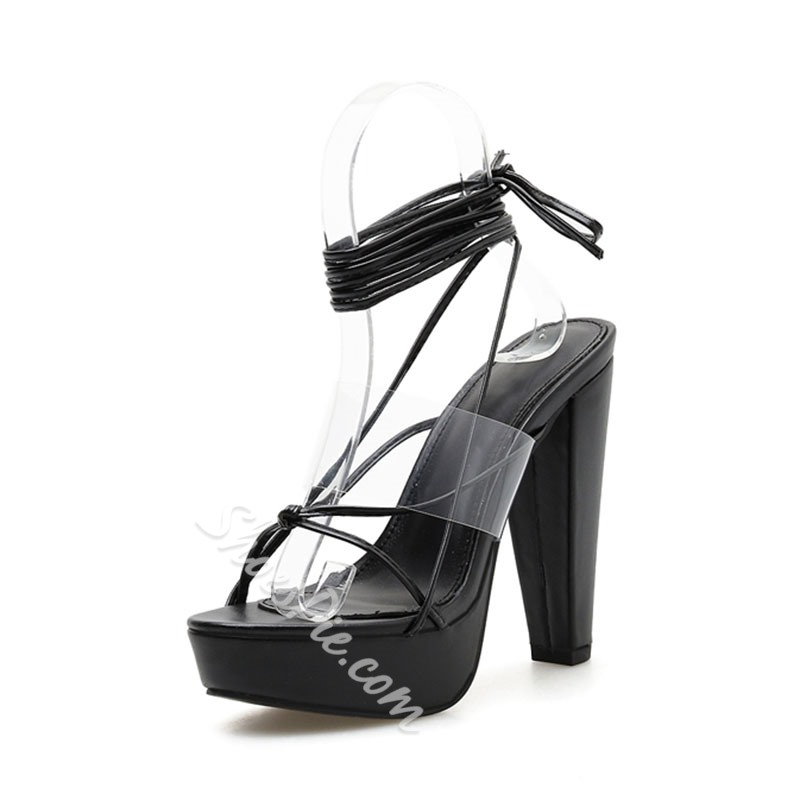 Shoespie Trendy Chunky Heel Black Clear Sandals