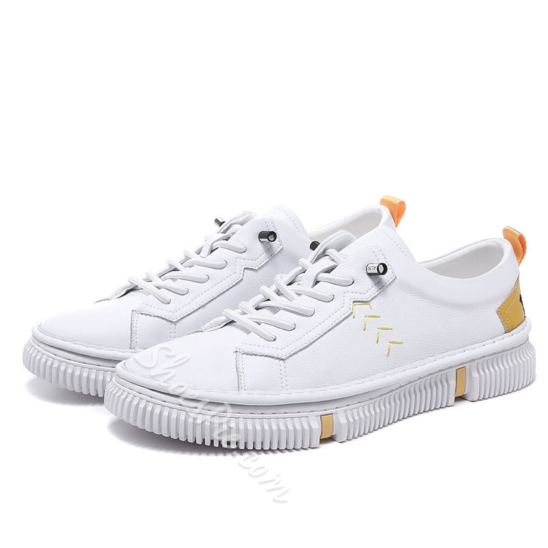 Shoespie Letter Lace-Up Low-Cut Upper Round Toe Skate Shoes