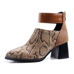 Shoespie Trendy Color Block Chunky Heel Round Toe Casual Boots