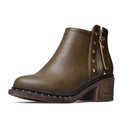 Shoespie Stylish Side Zipper Chunky Heel Round Toe Casual Boots
