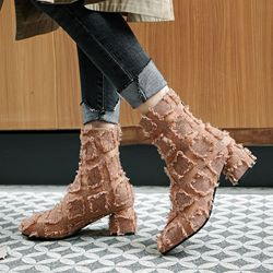 Shoespie Sexy Plain Chunky Heel Back Zip Casual Boots