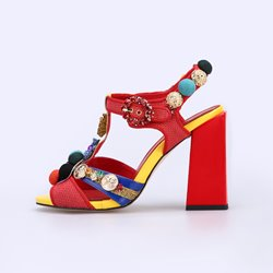 Shoespie Red Chunky Heel Ankle Strap Buckle Sandals