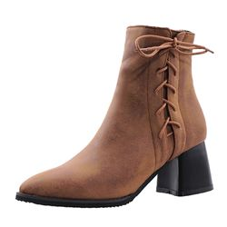 Shoespie Trendy Side Zipper Chunky Heel Plain Casual Boots