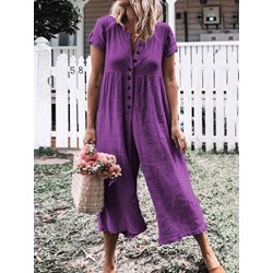 Plain Western Mid-Calf Loose Women's Jumpsuit