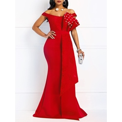 Floor-Length Lace Short Sleeve Pullover Women's Maxi Dress