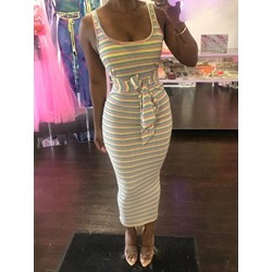 Lace-Up Ankle-Length Sleeveless Women's Bodycon Dress