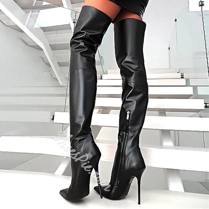 Shoespie Pointed Toe Zipper Thigh High Boots