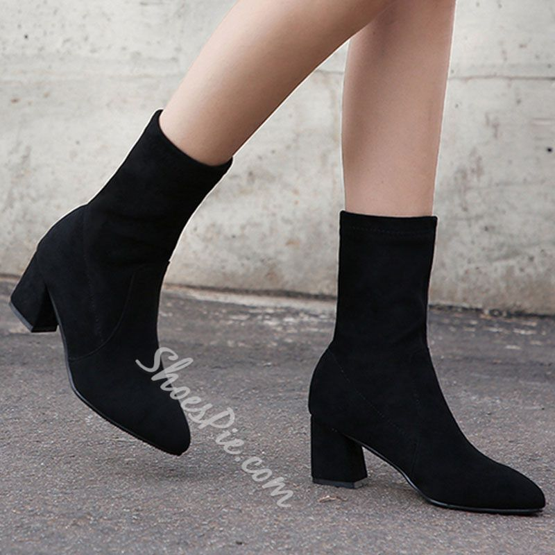 Shoespie Trendy Round Toe Chunky Heel Back Zip Casual Boots