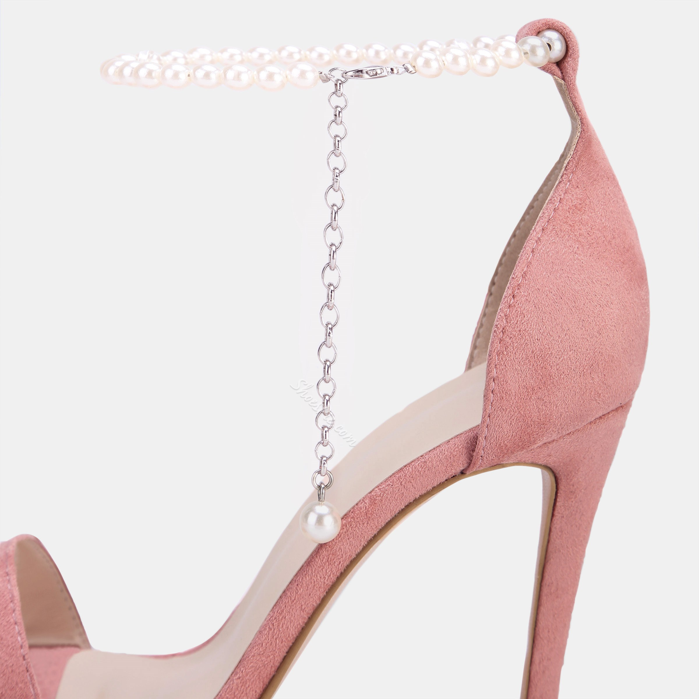 Shoespie Pink Open Toe Line-Style Buckle Heel Sandals