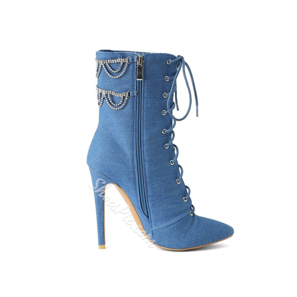 Shoespie Stylish Side Zipper Pointed Toe Chain Boots