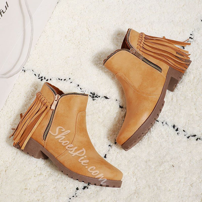 Shoespie Trendy Block Heel Round Toe Plain Casual Boots