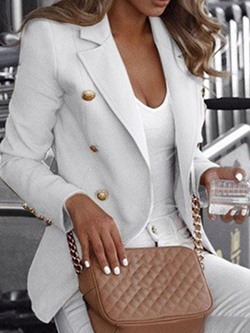 Double-Breasted Notched Lapel Long Sleeve Standard Women's Casual Blazer
