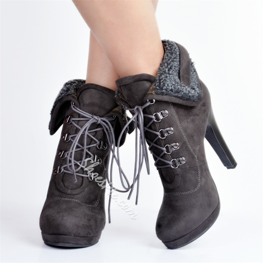 Shoespie Sexy Lace-Up Front Round Toe Boots