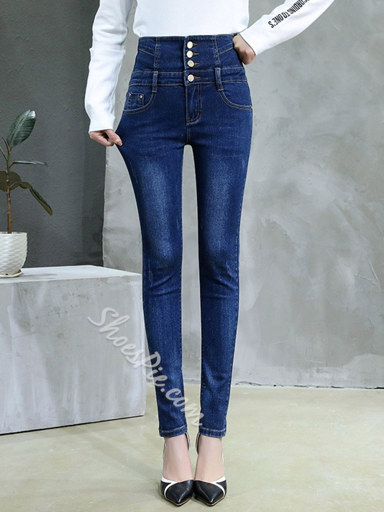 Button Plain Pencil Pants Button Women's Jeans