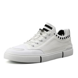 Shoespie Lace-Up Low-Cut Upper Color Block Round Toe Skate Shoes