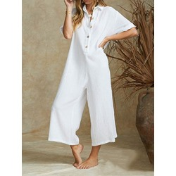 Plain Ankle Length Travel Look Wide Legs Women's Jumpsuit