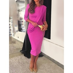 Long Sleeve Mid-Calf Plain Women's Bodycon Dress