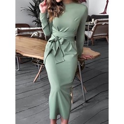 Mid-Calf Round Neck Long Sleeve Women's Bodycon Dress