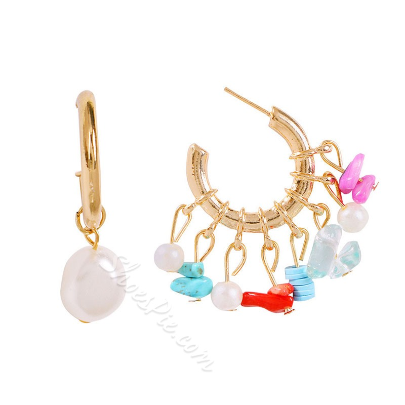 European Alloy Color Block Wedding Earrings