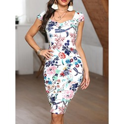 Knee-Length Print Short Sleeve Women's Bodycon Dress