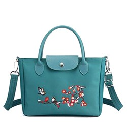 Shoespie Floral PU Embroidery Rectangle Tote Bags