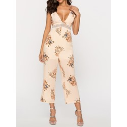 Sweet Floral Mid-Calf Straight Women's Jumpsuit