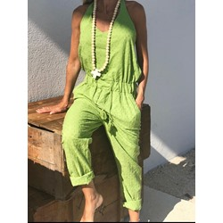 Mid-Calf Plain Loose Women's Jumpsuit