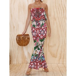 Travel Look Floral Full Length Wide Legs Women's Jumpsuit