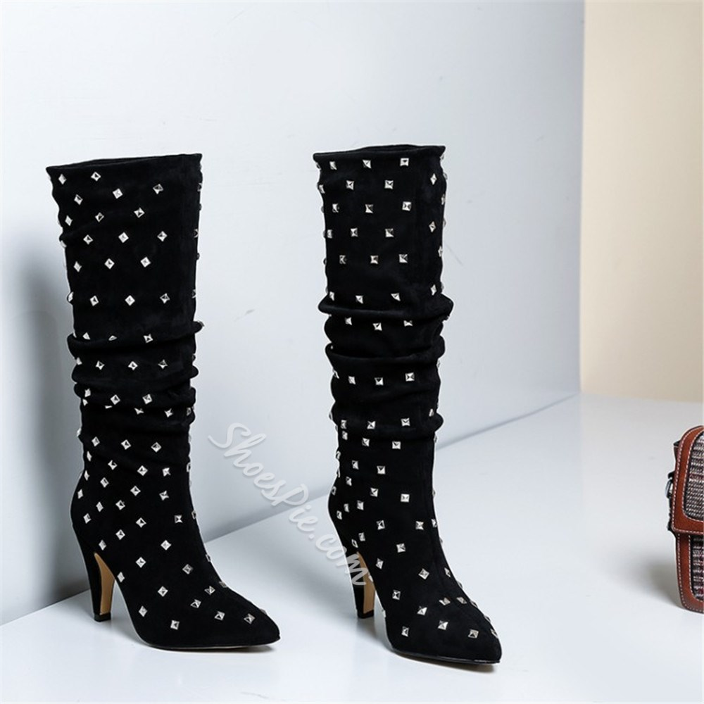 Shoespie Sexy Slip-On Pointed Toe Rivet Boots