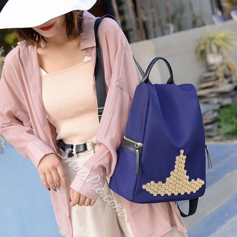 Shoespie Rivet Sequins Oxford Backpacks
