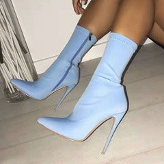 Shoespie Blue Pointed Toe Side Zipper Ankle Boots