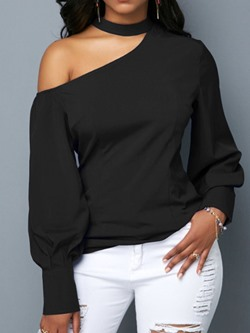Asymmetric Lantern Sleeve Plain Long Sleeve Women's Blouse