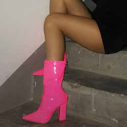Shoespie Chunky Heel Neon Zipper Ankle Boots