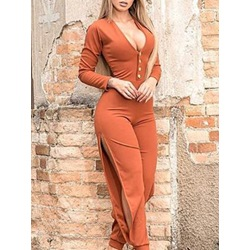 Split Sexy Plain Slim Women's Jumpsuit