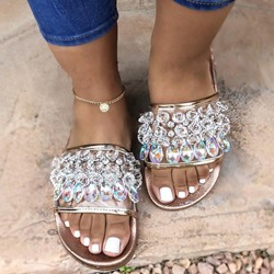 Shoespie Clear Rhinestone Flat Casual Slippers