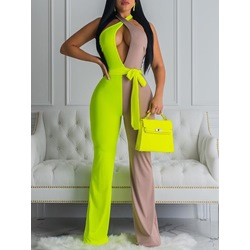 Sexy Color Block Full Length Straight Women's Jumpsuit