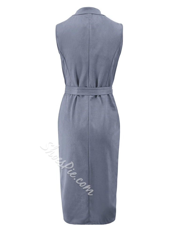 Sleeveless Mid-Calf Notched Lapel Women's Bodycon Dress